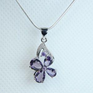 Jewelry - Sterling Silver Genuine Amethyst Flower Necklace